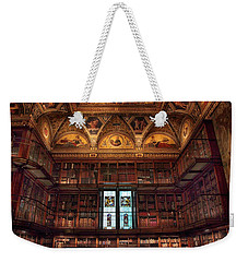 Weekender Tote Bag featuring the photograph The Morgan Library Window by Jessica Jenney