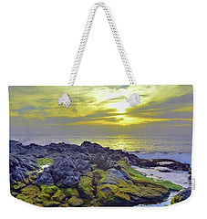 Weekender Tote Bag featuring the photograph The Mossy Rocks At Sunset by Tara Turner