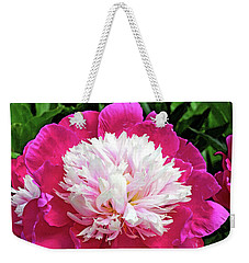 Weekender Tote Bag featuring the digital art The Most Beautiful Peony by Eva Kaufman