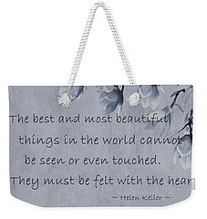 Weekender Tote Bag featuring the mixed media The Most Beautiful Things In The World by Movie Poster Prints