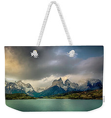 Weekender Tote Bag featuring the photograph The Mountains On The Lake by Andrew Matwijec