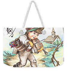 Weekender Tote Bag featuring the drawing The Musician by Sorin Apostolescu
