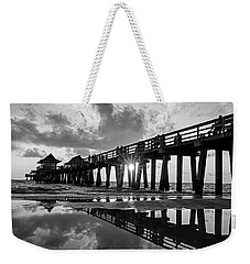 Naples Pier At Sunset Naples Florida Black And White Weekender Tote Bag