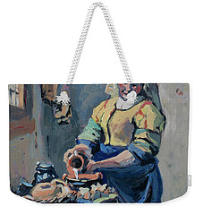 Weekender Tote Bag featuring the painting The New Milkmaid by Nop Briex