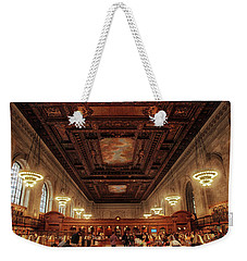 Weekender Tote Bag featuring the photograph The New York Public Library by Jessica Jenney