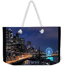The Night Before Super Bowl Xlix, 2014, Seattle Waterfront Weekender Tote Bag by Greg Sigrist
