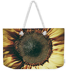 Weekender Tote Bag featuring the photograph The Not So Sunny Sunflower by Karen Stahlros