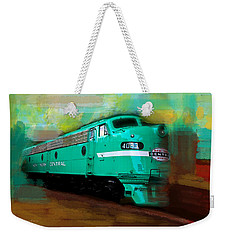 Weekender Tote Bag featuring the painting Flash II  The Ny Central 4083  Train  by Iconic Images Art Gallery David Pucciarelli