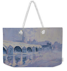 Weekender Tote Bag featuring the painting The Old Bridge Of Maastricht In Morning Fog by Nop Briex