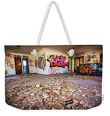 Weekender Tote Bag featuring the photograph The Old Campsite Building. by Gary Gillette