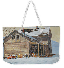 Weekender Tote Bag featuring the painting the Old Farm House by Len Stomski