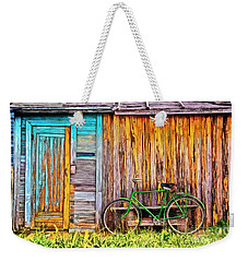 Weekender Tote Bag featuring the painting The Old Green Bicycle by Edward Fielding