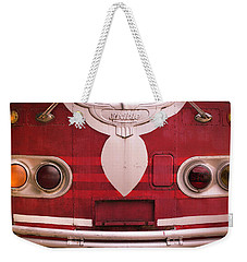 Weekender Tote Bag featuring the photograph The Old Red Bus by Heidi Hermes
