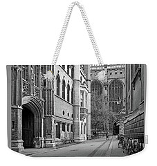 Weekender Tote Bag featuring the photograph The Old Schools University Offices Cambridge by Gill Billington