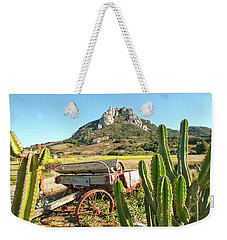 The Old Wagon And Cactus Patch In Front Of One Of The Seven Sisters In San Luis Obispo California Weekender Tote Bag