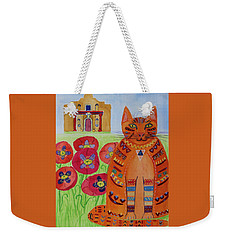 the Orange Alamo Cat Weekender Tote Bag