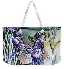 Weekender Tote Bag featuring the painting The Orchid Fairy by Mindy Newman