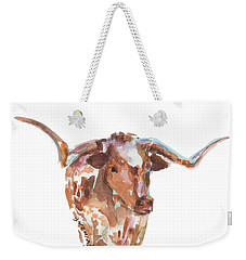 The Original Longhorn Standing Earth Quack Watercolor Painting By Kmcelwaine Weekender Tote Bag by Kathleen McElwaine