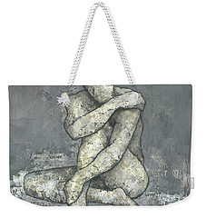 Weekender Tote Bag featuring the mixed media The Other by Steve Mitchell