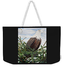 Weekender Tote Bag featuring the painting The Oversee'er by Marilyn  McNish