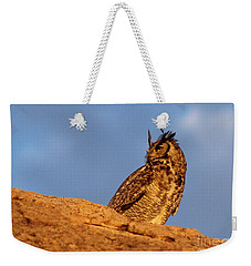 The Owl's Horns In The Breeze Weekender Tote Bag by Natalie Ortiz