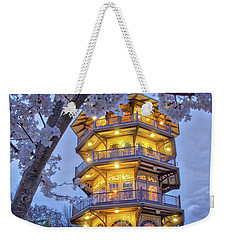 Weekender Tote Bag featuring the photograph The Pagoda In Spring At Blue Hour by Mark Dodd