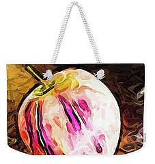 The Pale Pink Apple With The Hot Pink Stripes Weekender Tote Bag