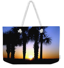 Weekender Tote Bag featuring the photograph The Palms At Sunset by Debra Forand