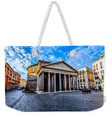 Weekender Tote Bag featuring the painting The Pantheon Rome by David Dehner