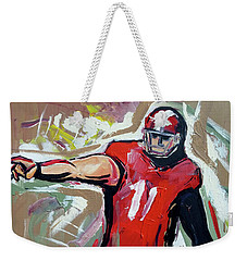 Weekender Tote Bag featuring the painting The Pass by John Jr Gholson