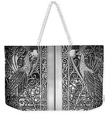 Weekender Tote Bag featuring the photograph The Peacock Door by Howard Salmon