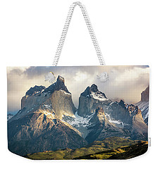 Weekender Tote Bag featuring the photograph The Peaks At Sunrise by Andrew Matwijec