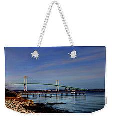 Weekender Tote Bag featuring the photograph The Pell Bridge Newport Ri by Tom Prendergast