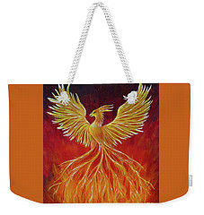 Weekender Tote Bag featuring the painting The Phoenix by Teresa Wing