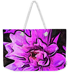 The Pink And Lavender Flowers On The Grey Surface Weekender Tote Bag