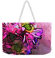 The Pink And Purple Flower By The Pale Pink Wall Weekender Tote Bag