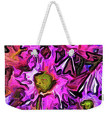 The Pink And Purple Flowers In The Red And Blue Vase Weekender Tote Bag