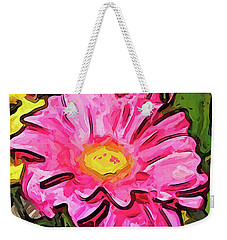 The Pink And Yellow Flowers With The Big Green Leaves Weekender Tote Bag
