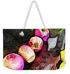 The Pink Apples In A Curve With The Yellow Lemons Weekender Tote Bag