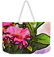 The Pink Flowers On The Left With The Green Leaves Weekender Tote Bag