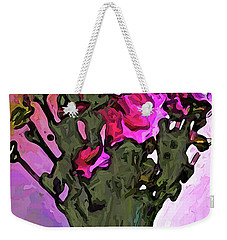 The Pink Flowers With The Long Stems In The Vase Weekender Tote Bag