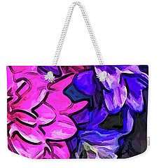 The Pink Petals With The Purple And Blue Flowers Weekender Tote Bag