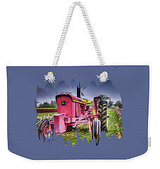 Weekender Tote Bag featuring the photograph The Pink Tractor At The Wooden Shoe Tulip Farm by Thom Zehrfeld