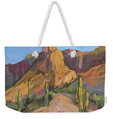 Weekender Tote Bag featuring the painting The Pinnacle At Goldfield Mountains by Diane McClary