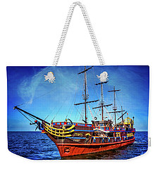 Weekender Tote Bag featuring the photograph The Pirate Ship Ustka In Sopot  by Carol Japp