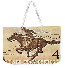 The Pony Express Centennial Stamp Weekender Tote Bag
