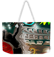 Weekender Tote Bag featuring the digital art The Power Of Volleyball by Darren Cannell