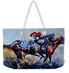 Weekender Tote Bag featuring the painting The Preakness Stakes by Hanne Lore Koehler