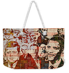 The Presidents Past Recycled Vintage License Plate Art Collage Weekender Tote Bag by Design Turnpike