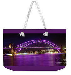Weekender Tote Bag featuring the photograph The Purple Coathanger By Kaye Menner by Kaye Menner